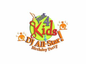Just 4 Kids Salon - DJ All-Star Birthday Party Logo