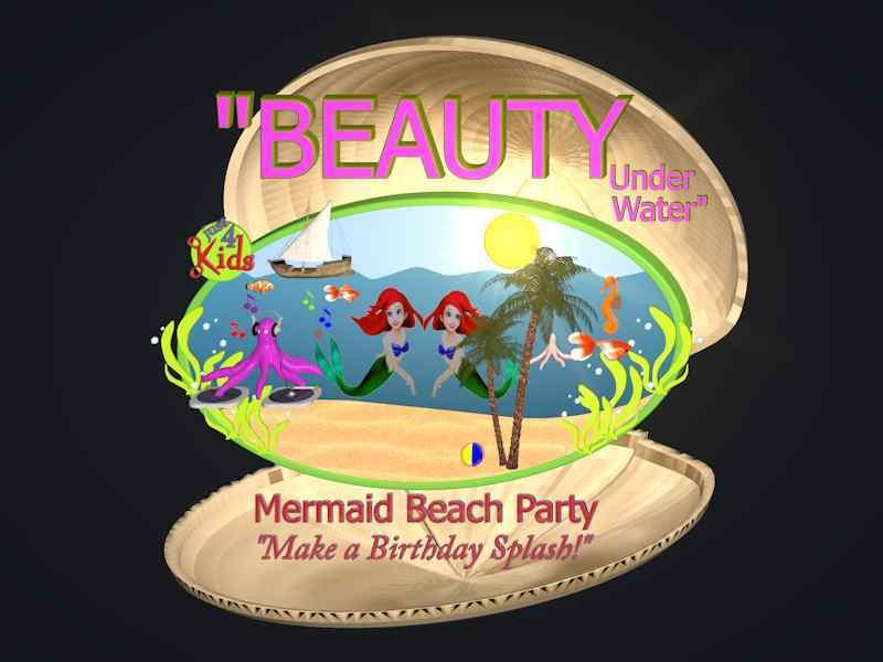 Just 4 Kids Salon Beauty Under Water Mermaid Kids Beach Birthday Party Logo