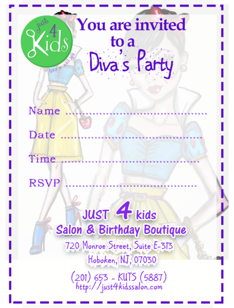 Just 4 Kids Salon - Birthday Party - Diva Invite