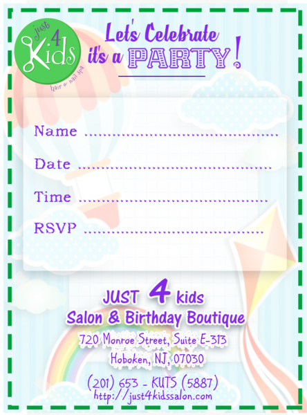 Just 4 Kids Salon - Birthday Parties - Lets Celebrate Invite